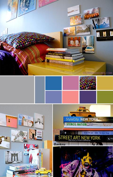 שילובי צבעים בחדר שינה במידטאון ניו יורק
