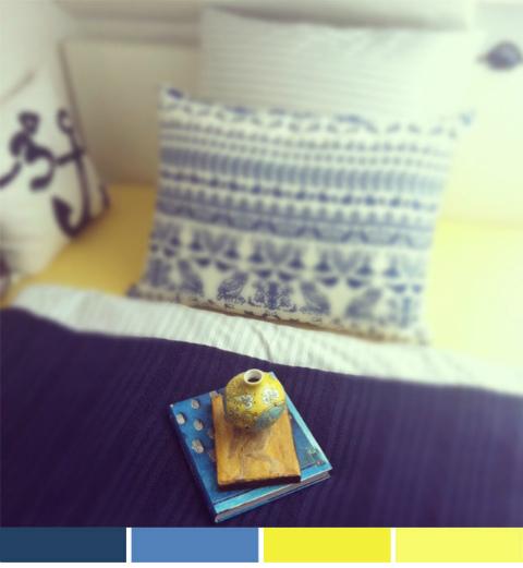 חדר שינה צהוב וכחול