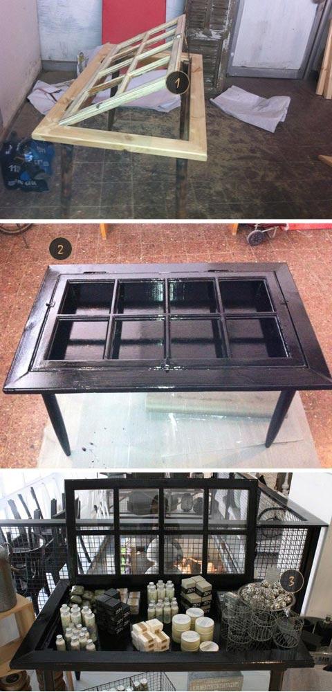 לפני ואחרי, איך לבנות שולחן מחלון ישן, שולחן תצוגה מעץ מלא, שולחן מתריס ישן