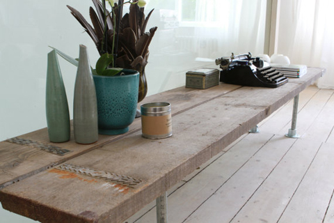 reclaimed scaffolding table